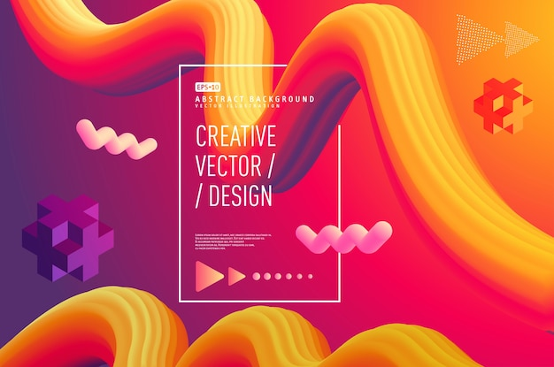 Vloeibaar abstract 3d posterontwerp
