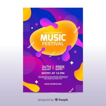 Vloeibaar effect muziek poster sjabloon