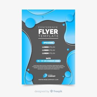 Vloeibaar effect van platte conferentie flyer sjabloon