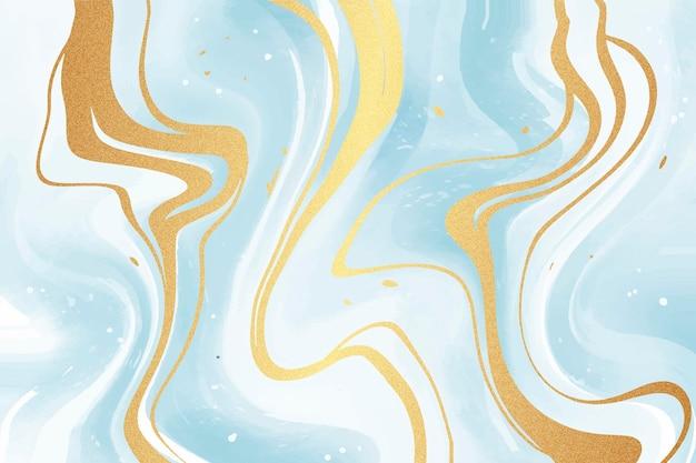 Vloeibaar marmer behang met gouden glans textuur