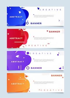 Vloeibare abstracte horizontale banner collectie in felle kleuren