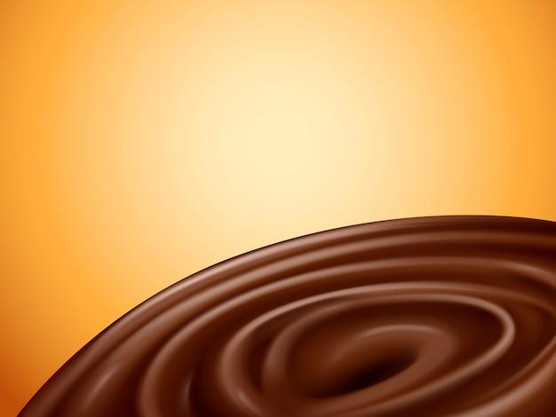 Vloeibare chocoladevortex, oranje achtergrond, illustratie