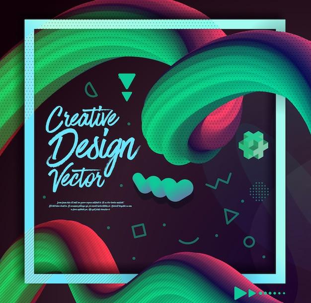 Vloeibare golf 3d kleurrijke abstracte achtergrond