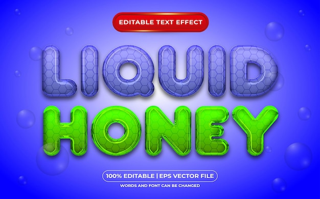 Vloeibare honing bewerkbare teksteffect vloeibare stijl