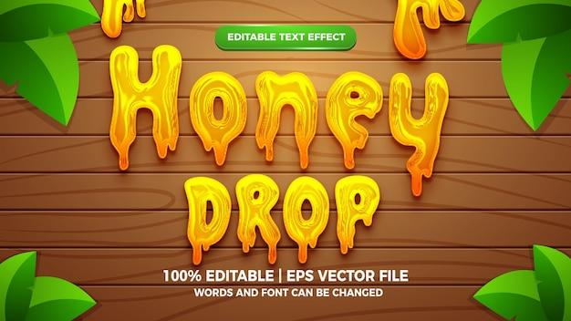Vloeibare honingdruppel bewerkbaar teksteffect 3d vloeibare sjabloonstijl
