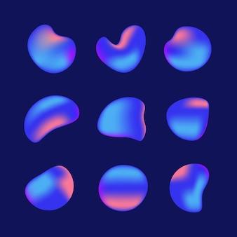 Vloeibare iriserende holografische gradiënt vormen elementen set