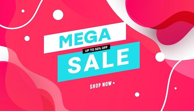 Vloeibare kleur abstracte geometrische vormen uiteindelijke verkoop banner.