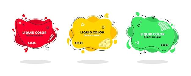 Vloeibare kleur set van abstracte moderne grafische elementen dynamisch gekleurde vormen en lijn.