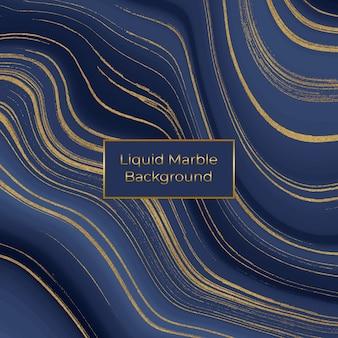 Vloeibare marmeren textuur. blauwe en gouden glitter inkt schilderij
