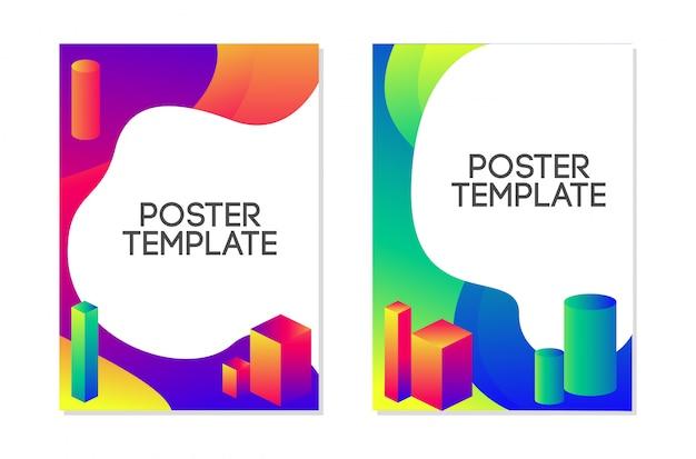 Vloeibare poster sjabloon ontwerpset. vloeibare trendy stijl