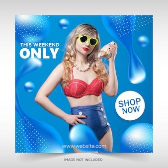 Vloeibare verkoop banner web sociale media