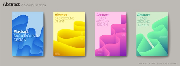 Vloeibare vloeistofstijl brochure, golvende en kleurverloop set