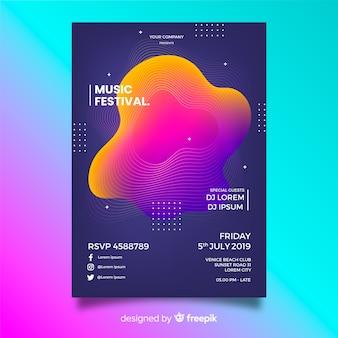 Vloeibare vorm muziek poster sjabloon