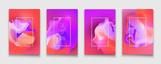 Vloeibare vormen en vloeiende neon verlopen brochure ontwerpsjabloon vector kleurrijke trendy folders set ...