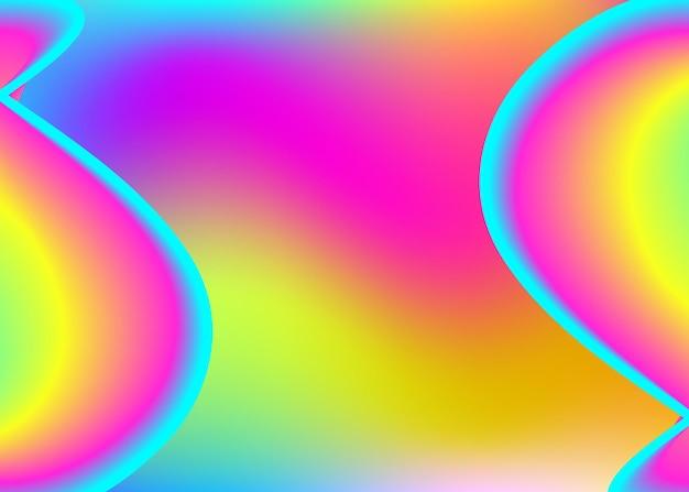 Vloeiende achtergrond. holografische 3d-achtergrond met moderne trendy mix. minimalistisch tijdschrift, spandoekframe. levendig verloopnet. vloeiende achtergrond met vloeibare dynamische elementen en vormen.