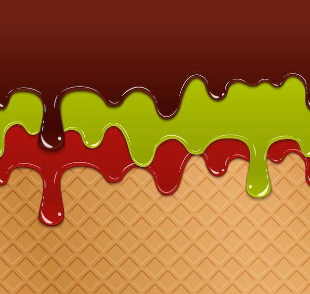 Vloeiende bessenjam, groene gelei en chocolade op de naadloze structuurpatroon van het wafelijs. zoetwaren lekker, veelkleurig vers ontbijt,