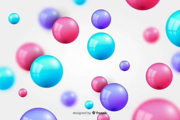 Vloeiende glanzende bollen realistische achtergrond