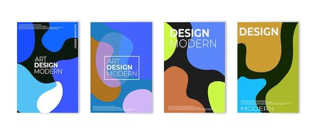 Vloeiende kleur covers set kleurrijke zeepbel vormen samenstelling vectorillustratie