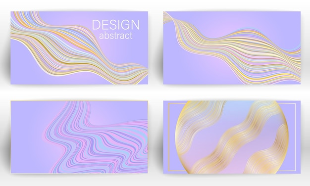 Vloeiende kleurrijke poster sjabloon. golvende lijnen dekken flyer set.