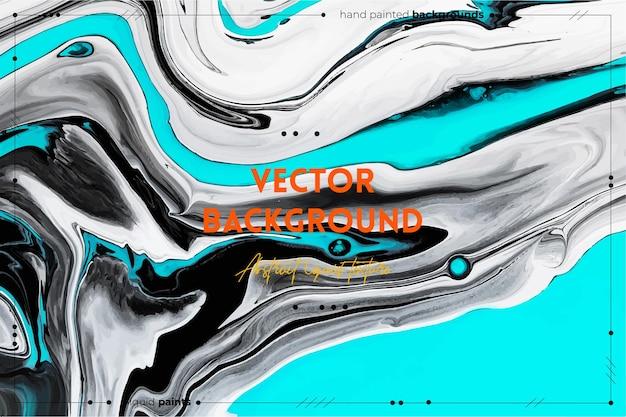 Vloeiende kunsttextuurachtergrond met abstract wervelend verfeffect vloeibaar acrylkunstwerk met stromen en spatten gemengde verf voor baner of behang zwart wit en aquamarijn overvolle kleuren