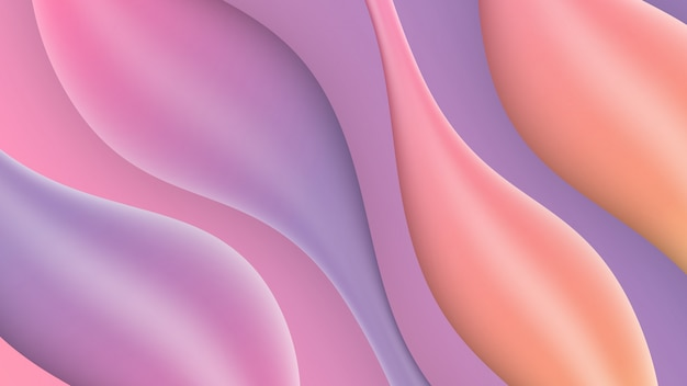 Vloeiende stijlbehang of abstracte kleurrijke stroomvormen 3d-elementen als achtergrond.