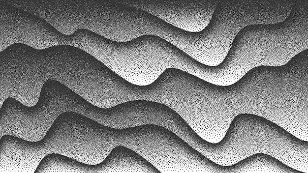Vloeiende vloeistof gebogen lijnen retro stijl dotwork 3d abstracte achtergrond. handgemaakte gestippelde stippling gravure textuur