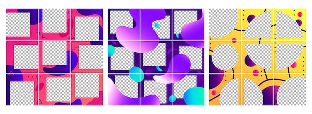 Vloeiende vormen na sjabloon. kleurrijke abstracte trendy sociale media fotolijsten berichten, puzzel raster sjablonen lay-out set