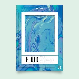 Vloeistof effect kleurrijke poster sjabloon