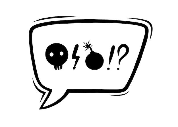 Vloekende tekstballon gecensureerd met symbolen hand getrokken scheldwoorden in tekstballon