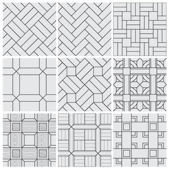 Vloer materiaal tegels vector naadloze patronen set