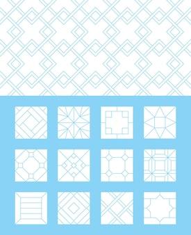 Vloer patroon. stoep kalksteen baksteen tegels parket laminaat collectie materialen
