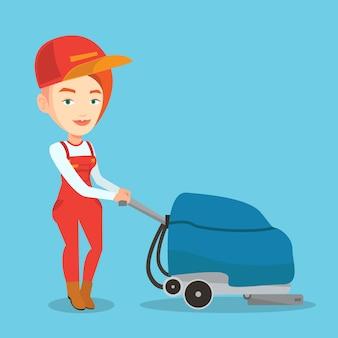 Vloer van de vrouwelijke werknemer de schoonmakende winkel met machine.