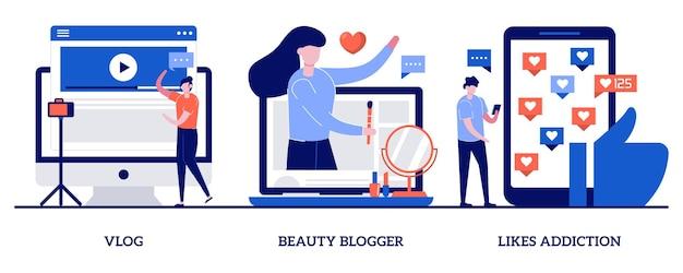 Vlog, beautyblogger, houdt van verslavingsconcepten met kleine mensen. social media ster set. trek volgers en abonnementen aan, virale inhoud, platform voor sociale media.