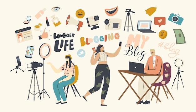 Vloggen, blogger-beroep in social media concept. vloggers mannelijke en vrouwelijke personages die video opnemen voor internet, live streaming-uitzendingen voor volgers. lineaire mensen vectorillustratie