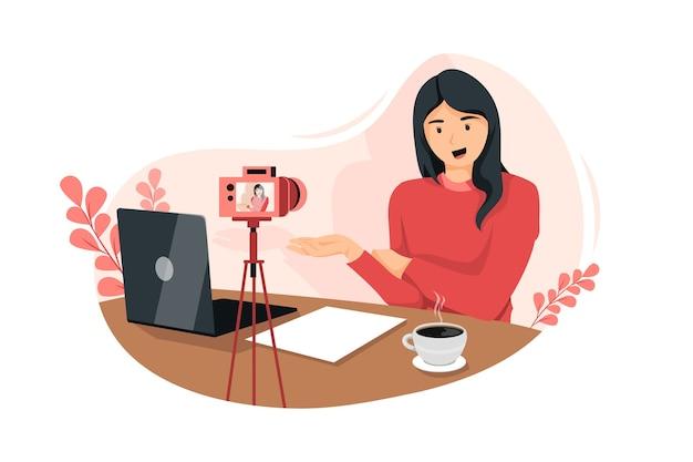 Vlogger die het concept van de illustratie van een live evenement uitzendt