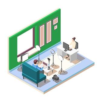 Vlogger streaming video in studio met illustratie van professionele apparatuur