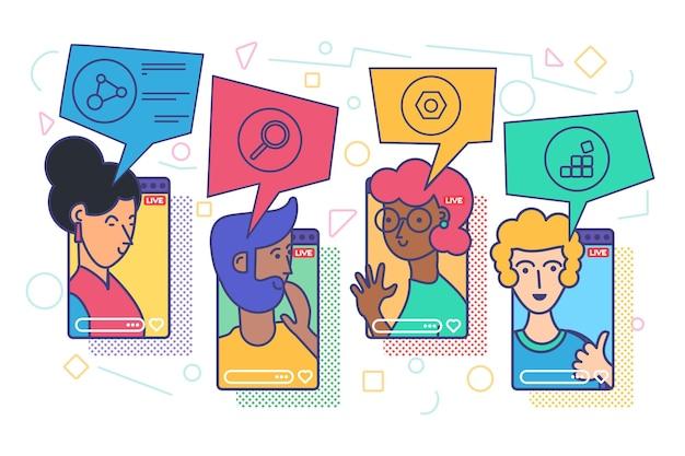 Vloggers live stream concept vectorillustratie. digitale communicatie idee. tekens die online uitzending op smartphone opnemen. sociale media in het echte leven cartoon kleurtekening