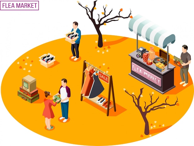 Vlooienmarkt isometrische samenstelling