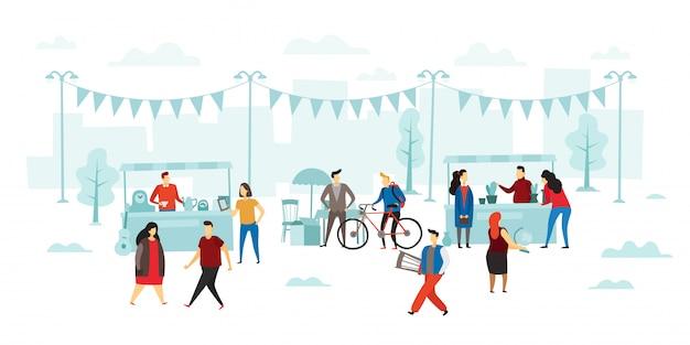 Vlooienmarkt. mensen kopen en verkopen, vlooienwinkelverkoop en straat winkelen vlakke afbeelding