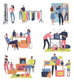Vlooienmarkt. mensen winkelen verkopen tweedehands retro goederen kledingruil ontmoeten bazaar. rommelmarkt concept