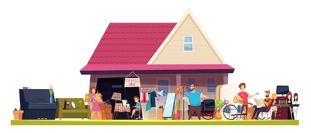 Vlooienmarkt. winkelen marktplaats vintage speelgoed boeken meubels mensen verkopers cartoon collectie.