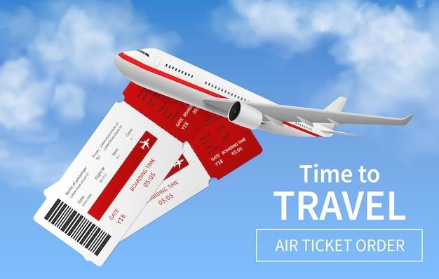 Vlucht banner. realistisch vliegtuig in lucht internationaal vervoer, buitenlandse vakantie reizen, express luchtbezorging, online ticket gereserveerde vlucht promo service vector 3d-poster met kopie ruimte