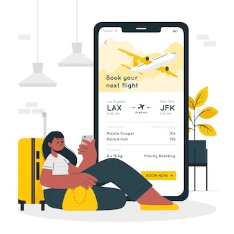 Vlucht boeken concept illustratie