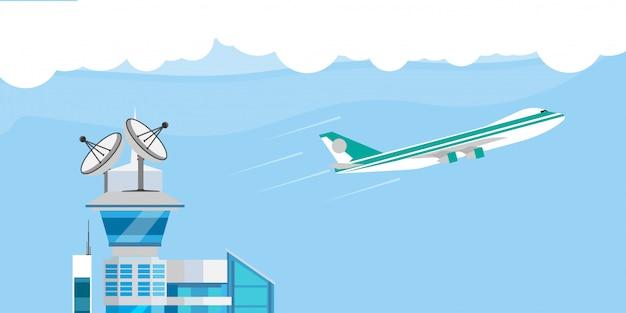 Vlucht control center vliegtuig illustratie platte lancering station. cartoon toren satelliet ontdekking reizen start luchtvaart hemel systeem
