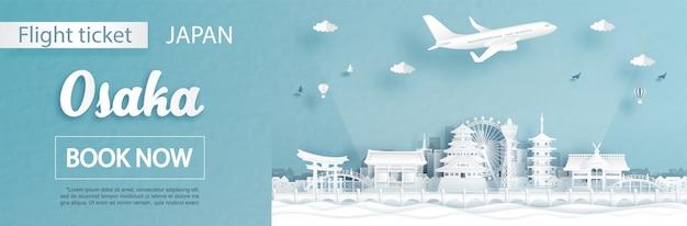 Vlucht en ticket advertentiesjabloon met reisconcept naar osaka, japan en beroemde bezienswaardigheden