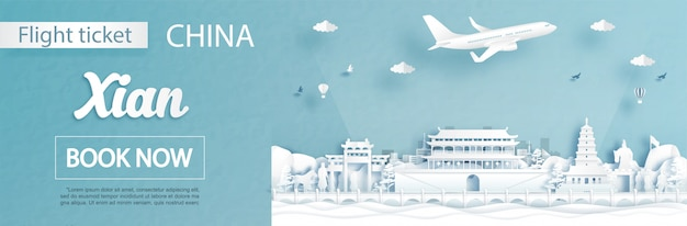Vlucht en ticket reclame sjabloon met reizen naar xian, china concept en beroemde bezienswaardigheden in papier knippen stijl illustratie