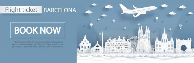 Vlucht- en ticketreclame met reizen naar barcelon