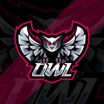 Vlucht uil mascotte logo esport sjabloonontwerp