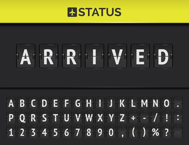 Vlucht vertrek flip bord met vliegtuigteken. vector mechanisch luchthavenscorebord voor vluchten met status aangekomen