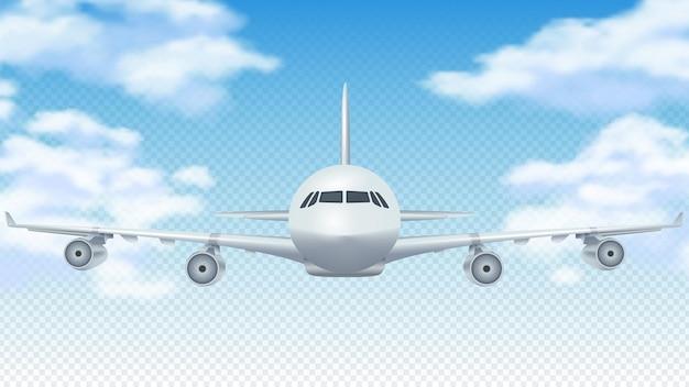 Vlucht vliegtuig. realistisch 3d-vliegtuig dat in blauwe hemel vliegt.